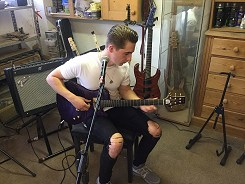 James Mullally playing the Purple Rain by Harrill Guitars.